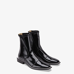 FENDI ANKLE BOOTS - Glossy black neoprene low ankle boots - view 4 thumbnail