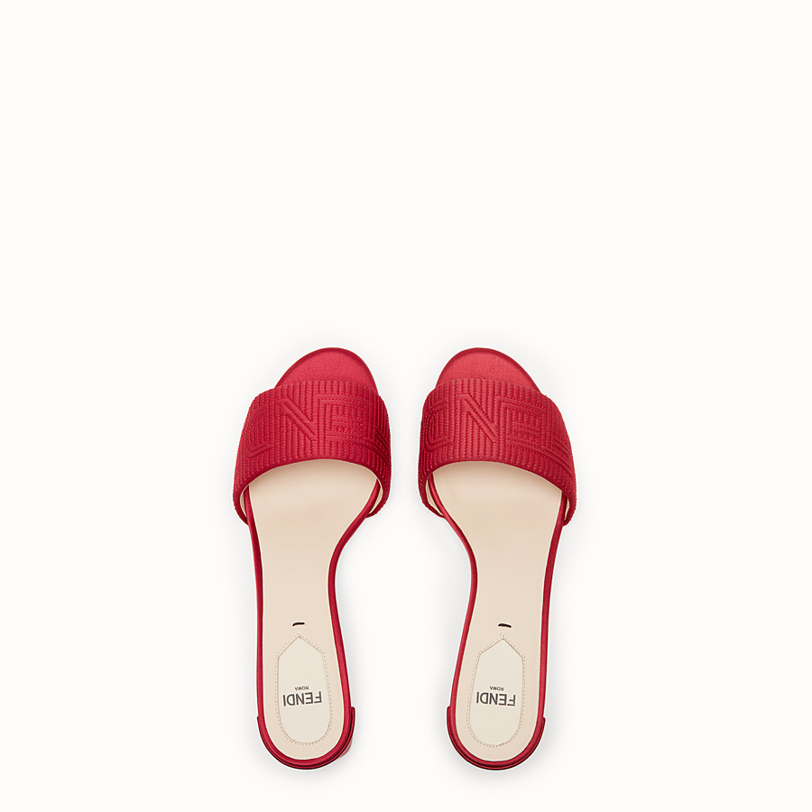 FENDI SABOTS - Red satin sandals - view 4 detail