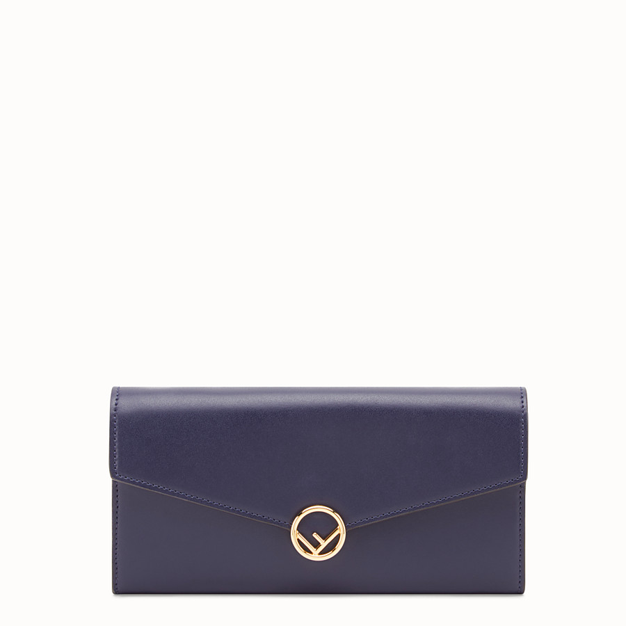 FENDI CONTINENTAL WITH CHAIN - Blue leather wallet - view 1 detail