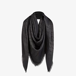 FENDI FF SHAWL - Black silk, viscose and wool shawl - view 2 thumbnail