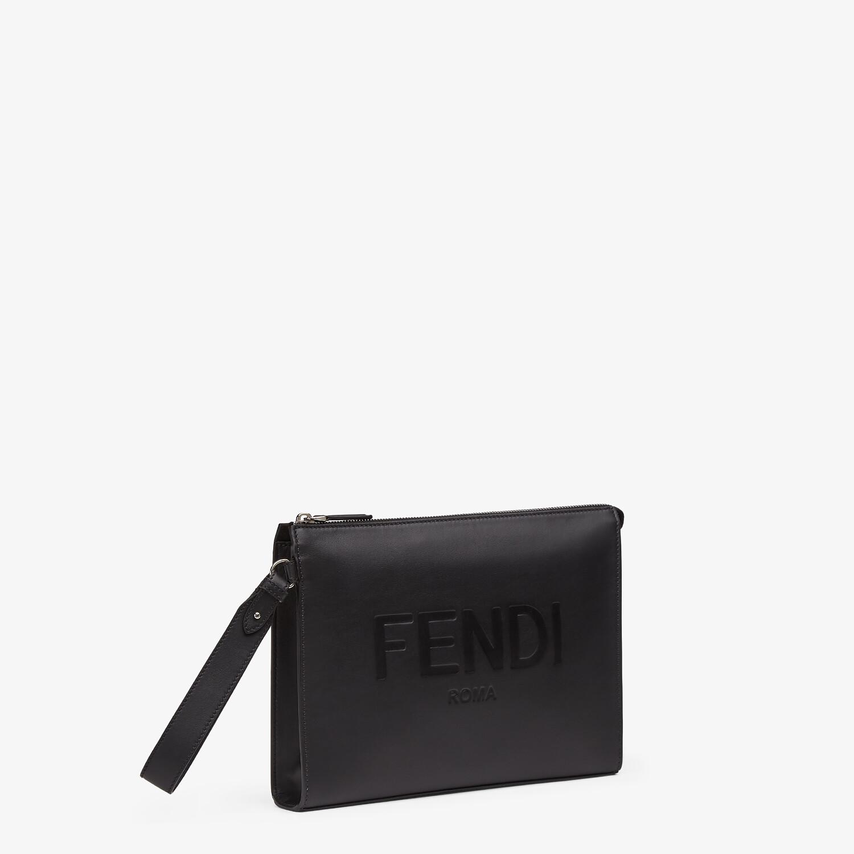 FENDI FLAT POUCH - Black leather pouch - view 2 detail
