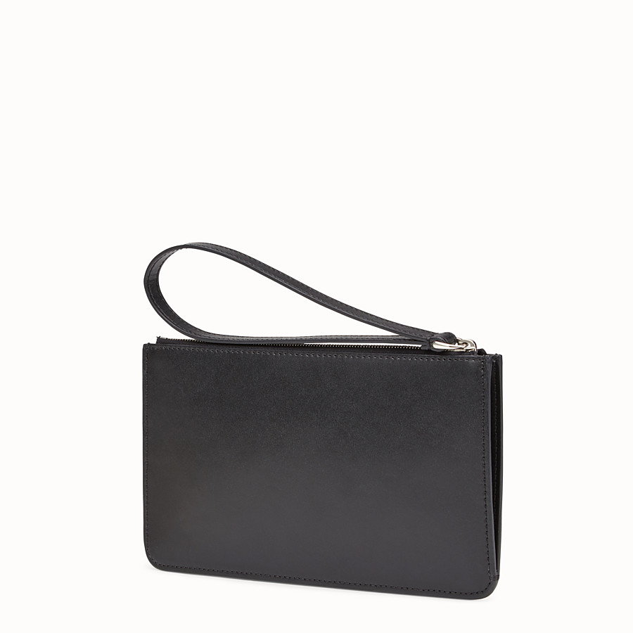 FENDI FLAT CLUTCH - Pouch in black leather with studs - view 2 detail
