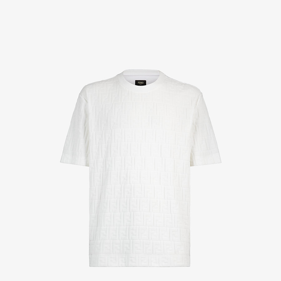 FENDI T-SHIRT - White chenille T-shirt - view 1 detail