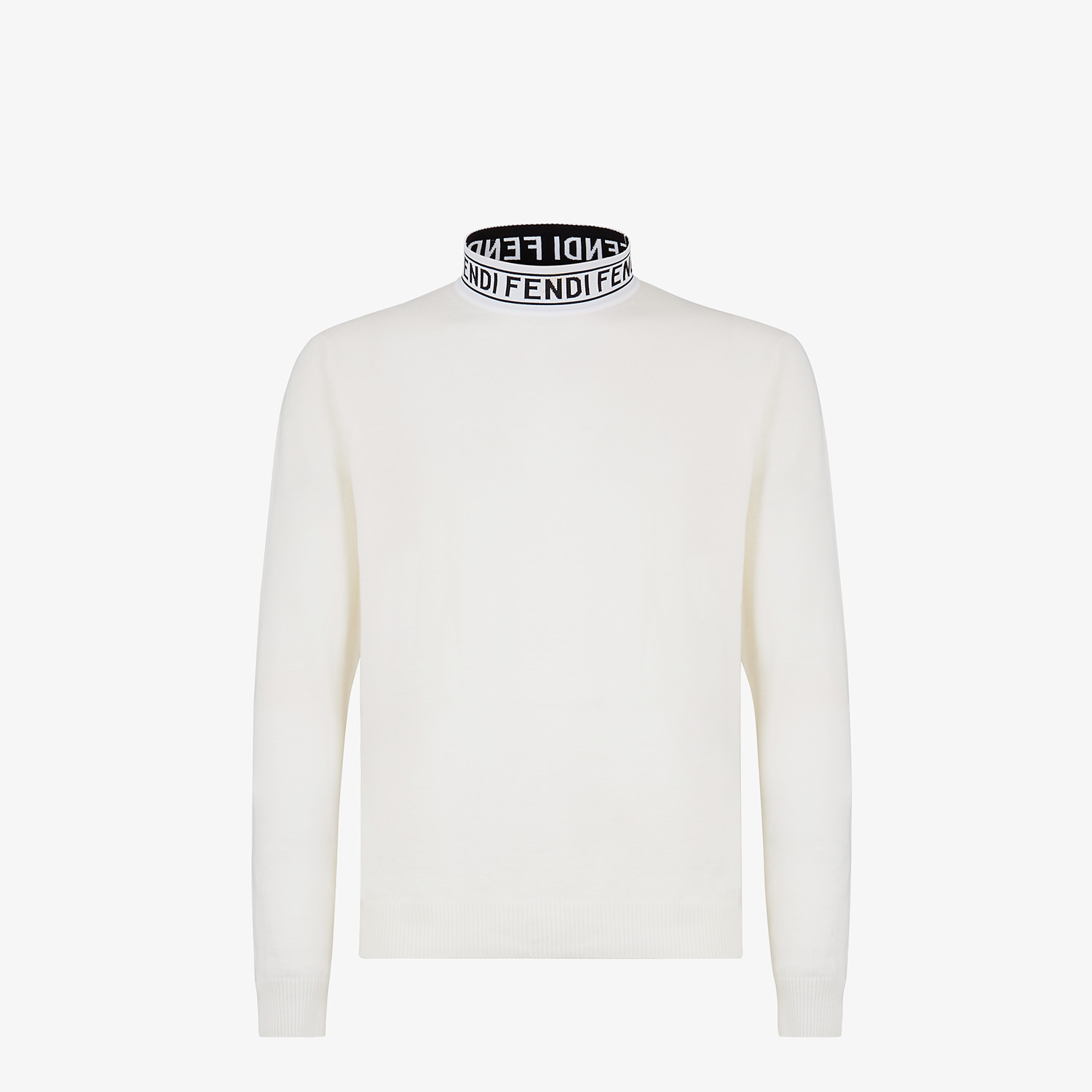 FENDI TURTLENECK - White wool sweater - view 1 detail