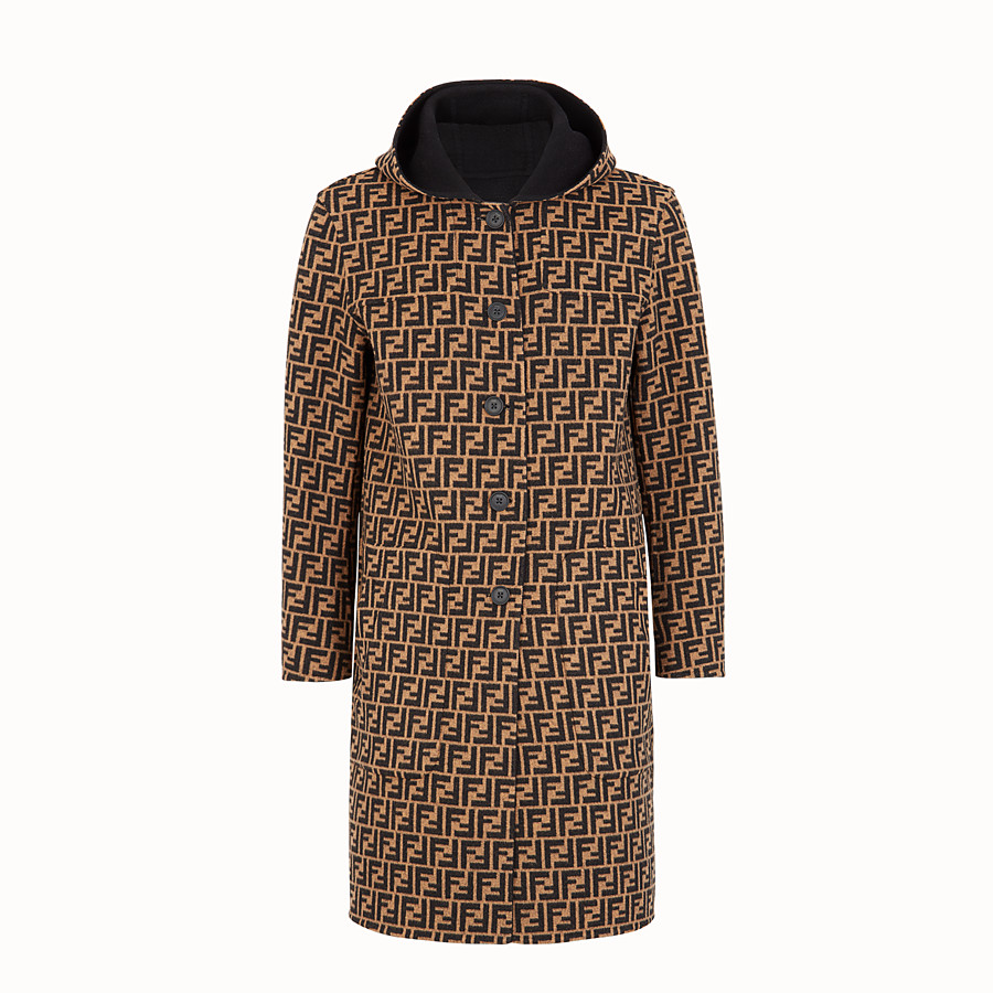 FENDI DUFFEL COAT - Brown wool coat - view 4 detail