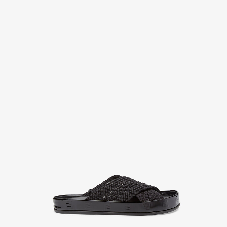 FENDI FENDI REFLECTIONS SLIDES - Black stretch lace flats - view 1 detail