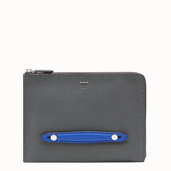 FENDI POUCH - Grey leather pouch - view 1 small thumbnail