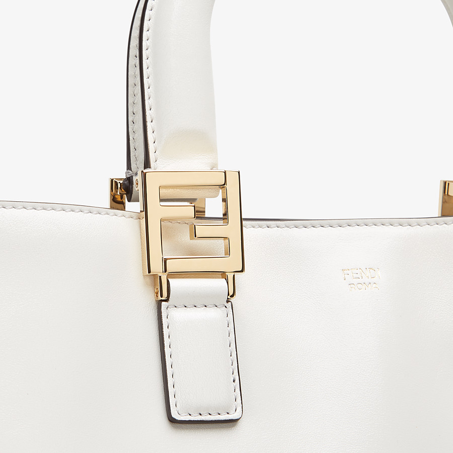 FENDI FF TOTE SMALL - White leather bag - view 5 detail