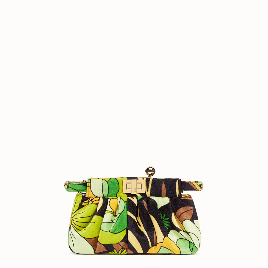 FENDI PEEKABOO CLICK - Small bag in multicolour chenille - view 1 detail