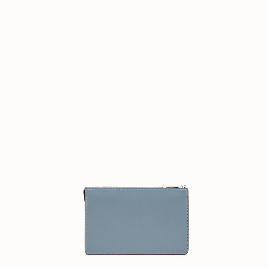 FENDI CLUTCH - Light blue leather pouch - view 3 detail