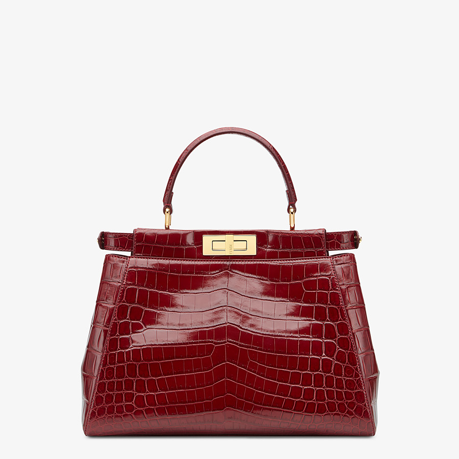 FENDI PEEKABOO ICONIC MEDIUM - Red crocodile leather handbag. - view 3 detail