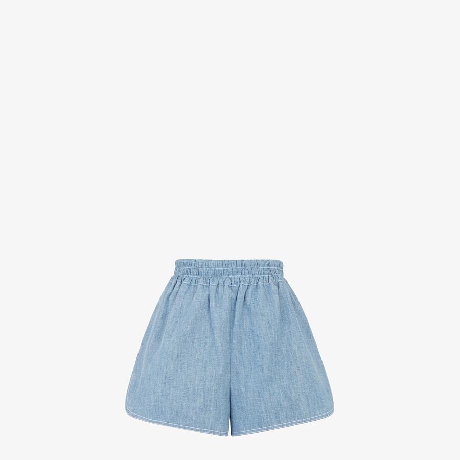 FENDI SHORTS - Light blue chambray shorts - view 1 detail