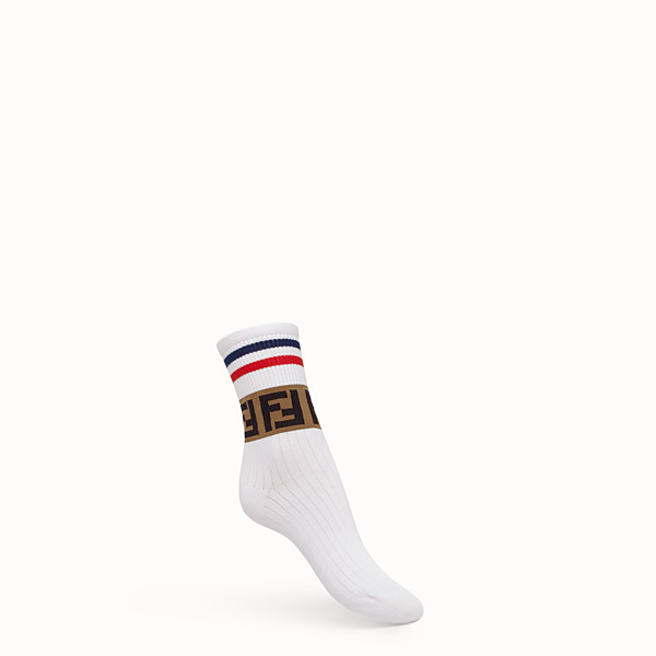 FENDI SOCKS - White cotton blend socks - view 1 small thumbnail