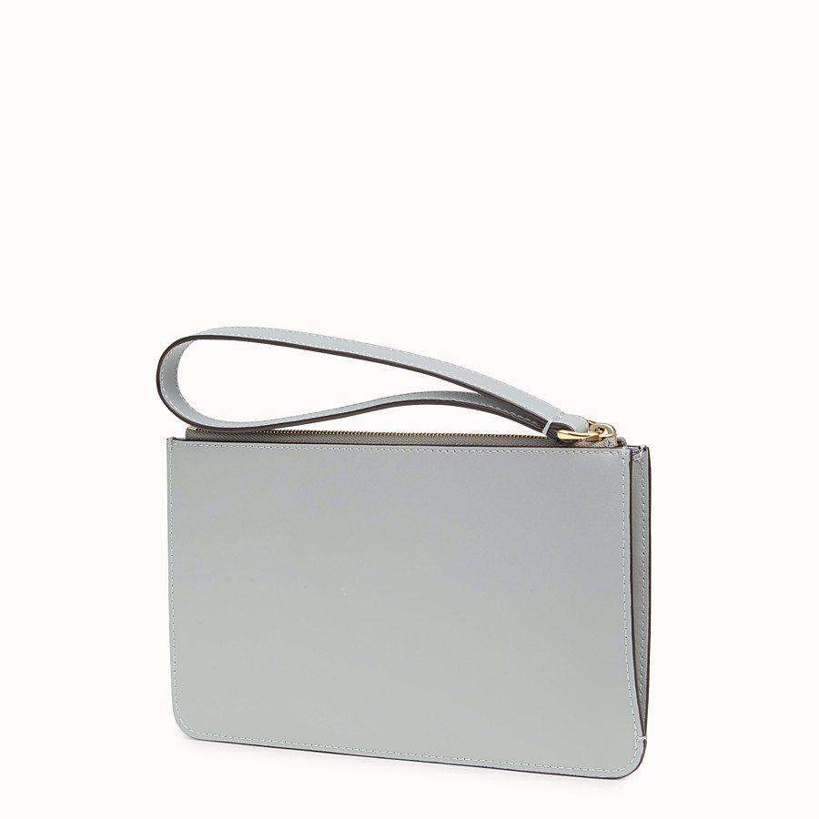 FENDI FLAT CLUTCH - Grey leather pouch - view 2 detail