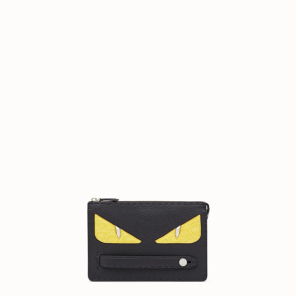 FENDI CLUTCH - Black Roman leather pochette with exotic leather details - view 1 small thumbnail