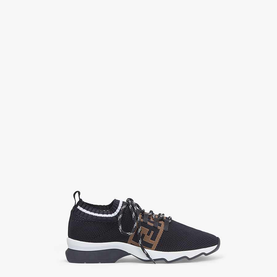 FENDI SNEAKERS - Black mesh low-tops - view 1 detail