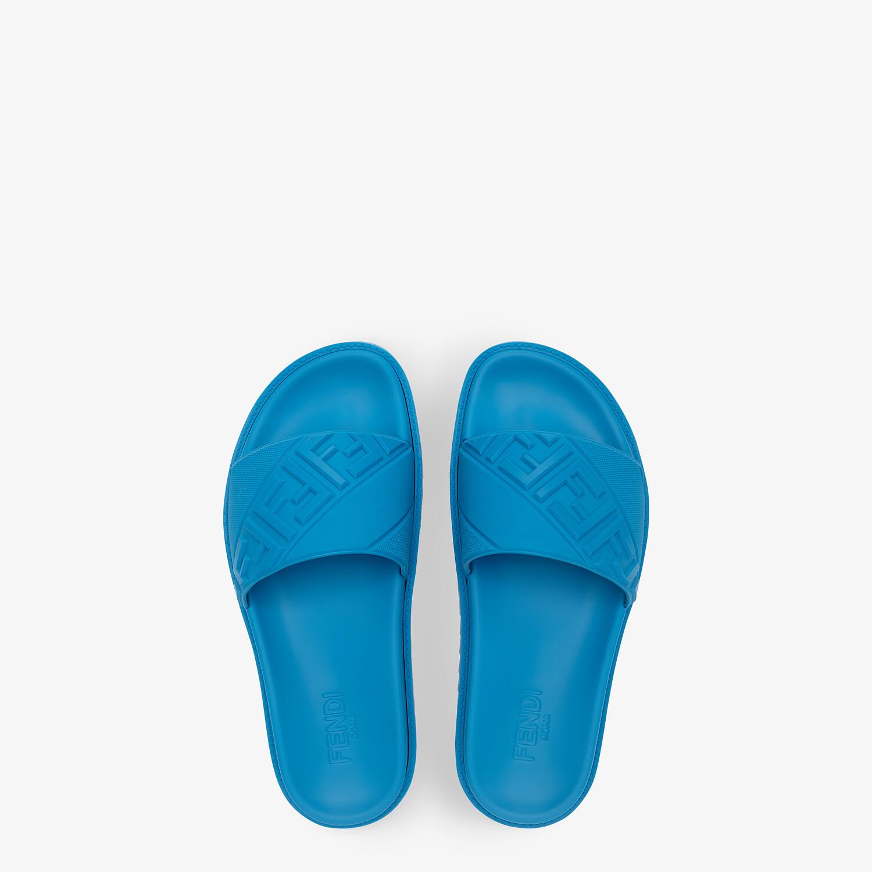 FENDI SLIDES - Blue rubber slides - view 4 detail