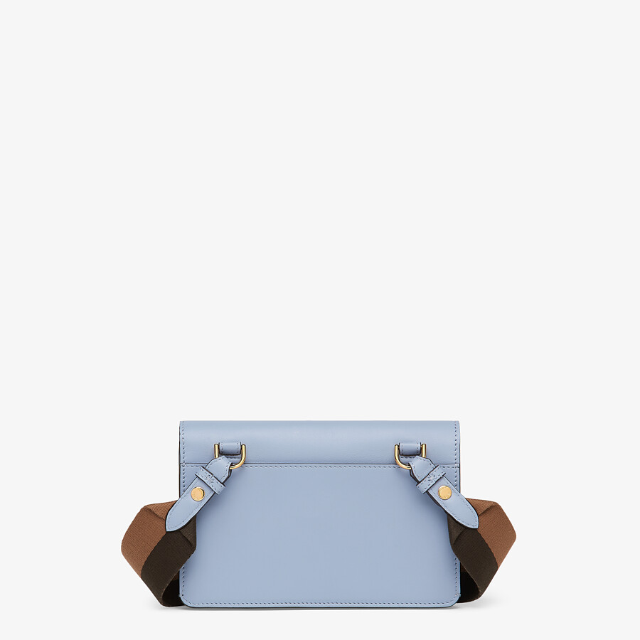 FENDI FLAT BAGUETTE - Light blue leather mini-bag - view 4 detail
