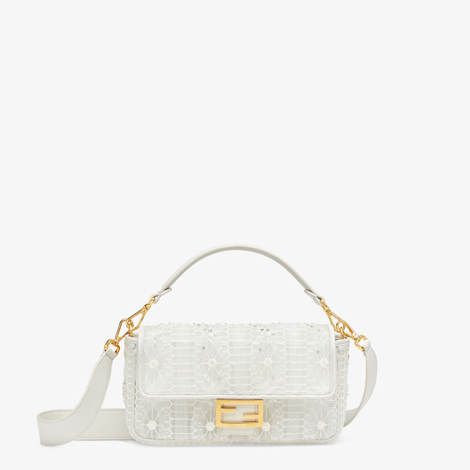 FENDI BAGUETTE - Embroidered white tulle bag - view 1 detail