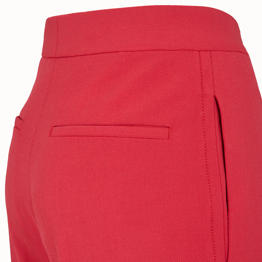 FENDI TROUSERS - Red wool trousers - view 3 detail