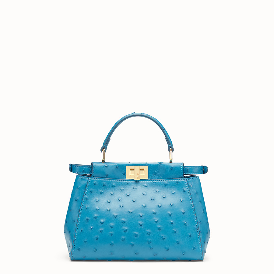 FENDI PEEKABOO MINI - Light blue ostrich leather bag - view 3 detail