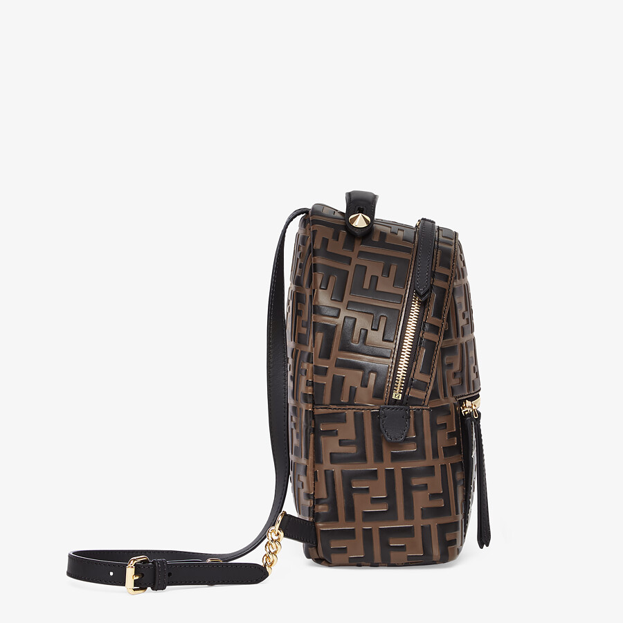 FENDI MINI BACKPACK - Brown leather FF backpack - view 2 detail