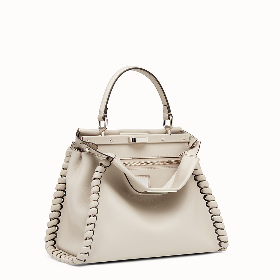 FENDI PEEKABOO REGULAR - Grey leather handbag with weave - view 2 detail