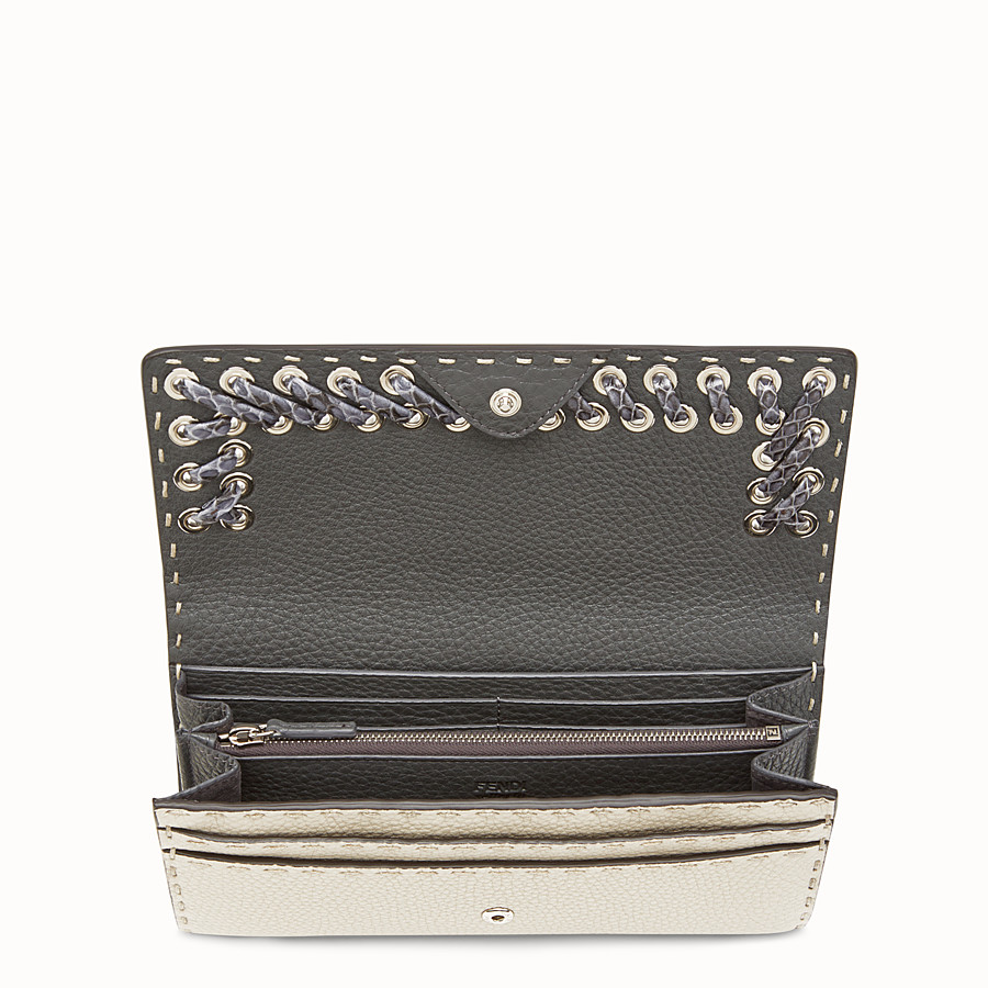 FENDI WALLET - Selleria white and grey continental wallet - view 4 detail