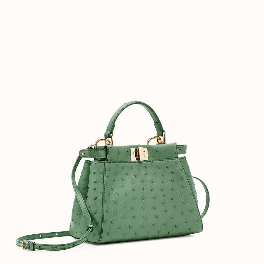 FENDI PEEKABOO MINI - Green ostrich leather handbag. - view 2 detail