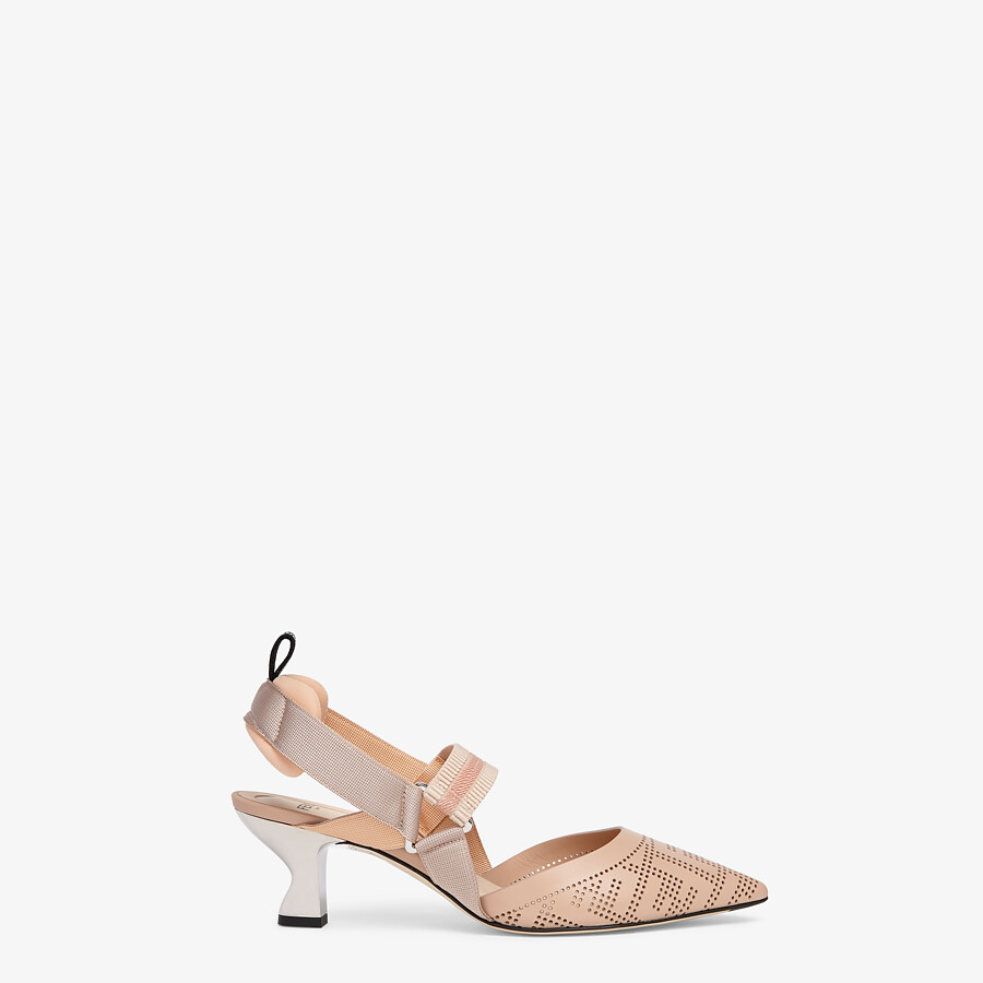 FENDI SLINGBACKS - Pink leather Colibrì slingbacks - view 1 detail