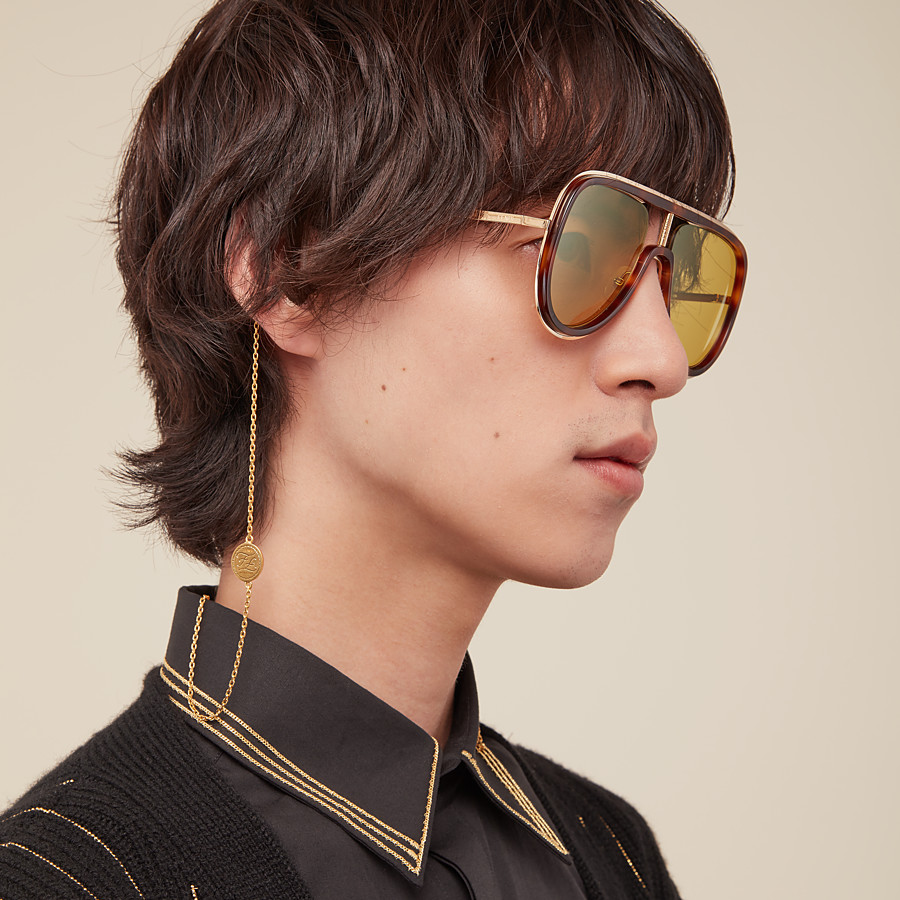 FENDI FUTURISTIC FENDI - Sonnenbrille in Gold und Havanna - view 4 detail