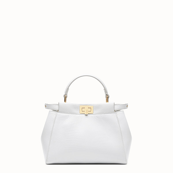 FENDI PEEKABOO ICONIC MINI - Bolso de lagarto blanco - view 1 small thumbnail