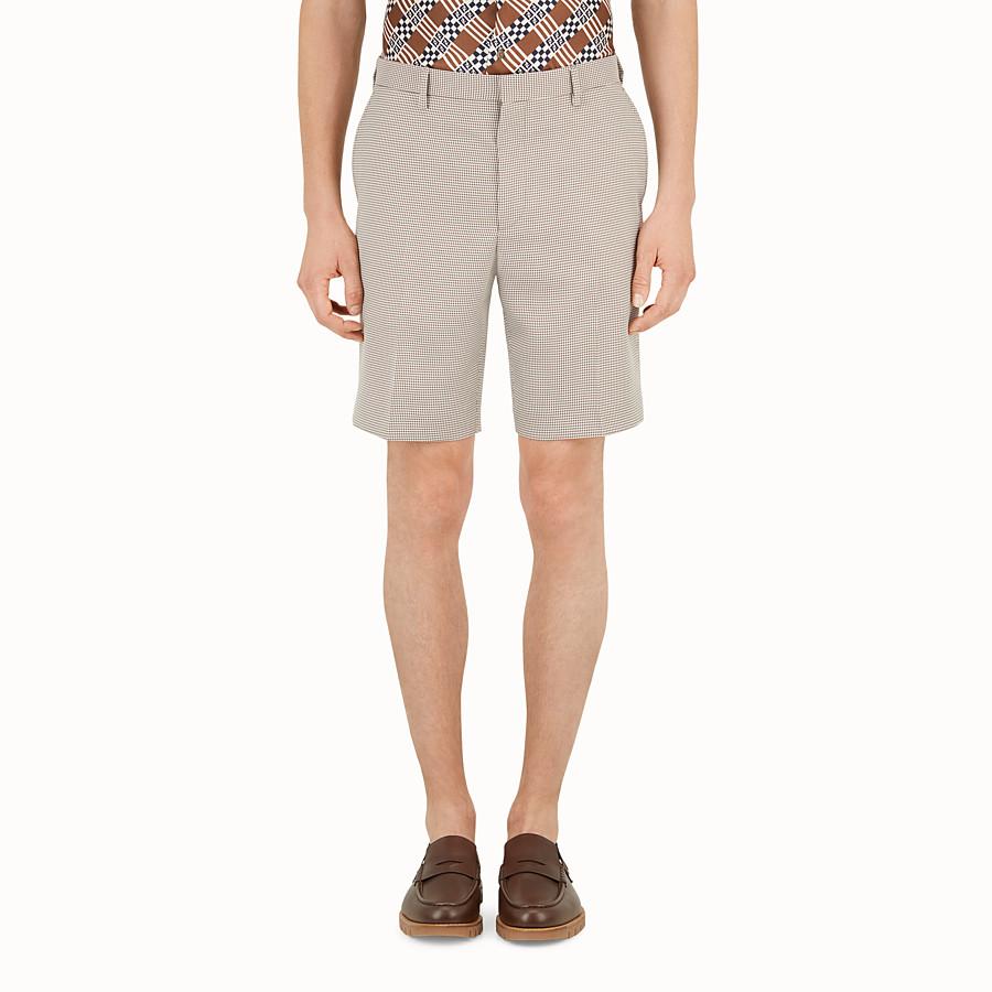 FENDI 百慕達短褲 - 米色和黑色千鳥格短褲 - view 1 detail
