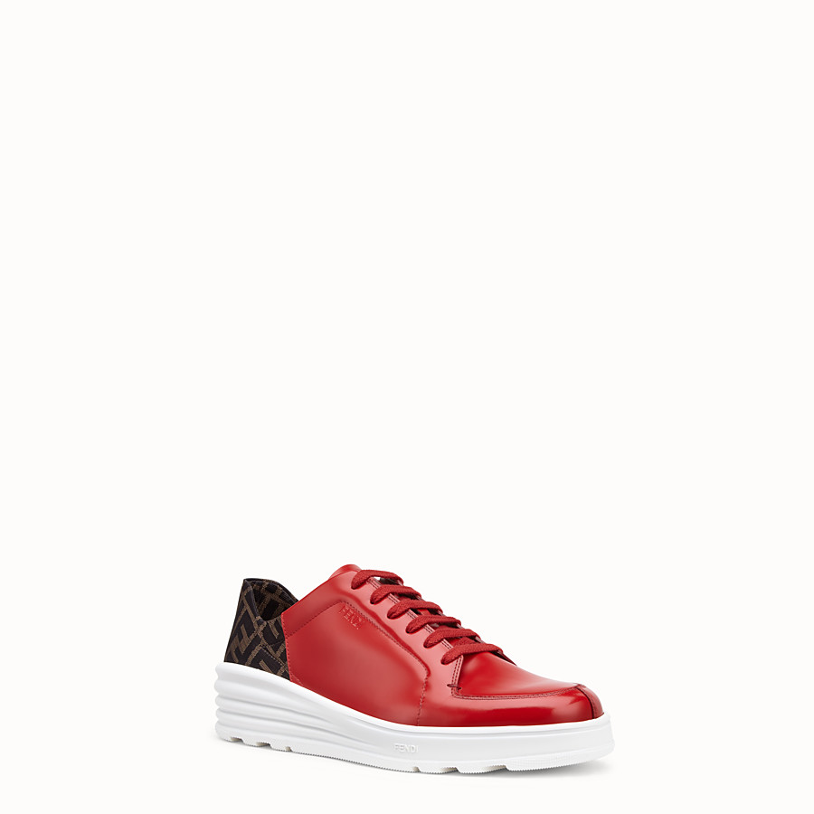 FENDI SNEAKERS - Red leather low-tops - view 2 detail