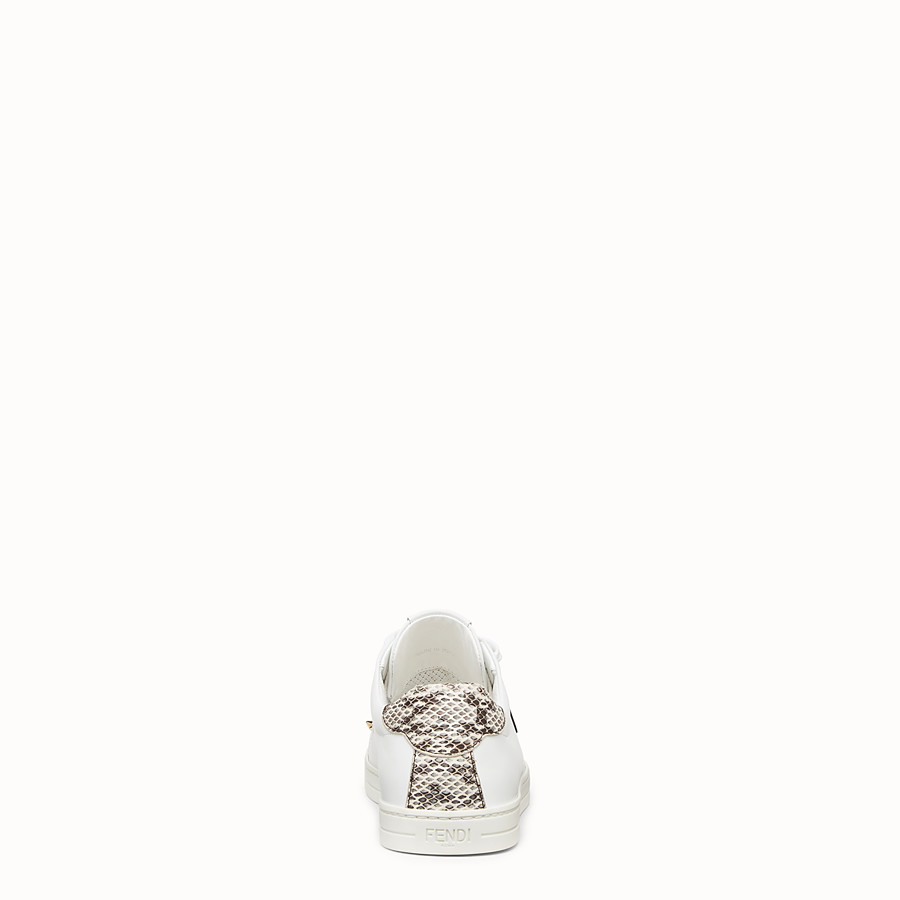 FENDI SNEAKERS - White leather sneakers with exotic details - view 3 detail