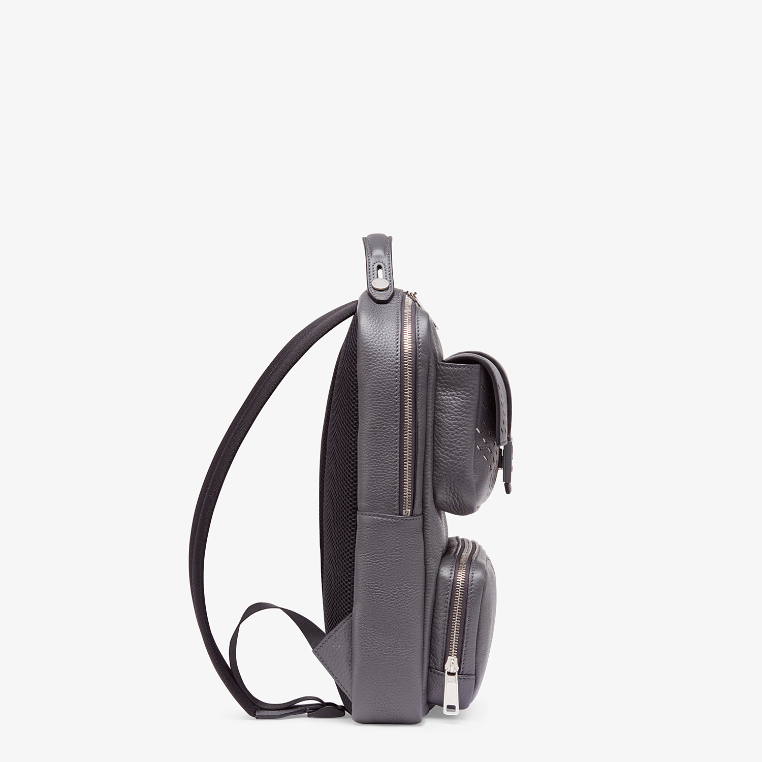 FENDI BACKPACK - Grey calf leather backpack - view 2 detail