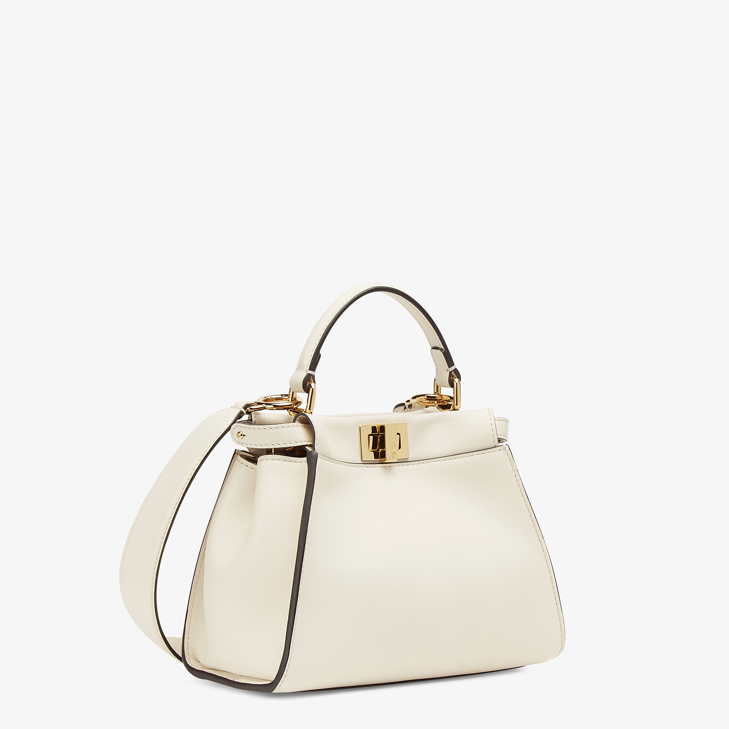 FENDI PEEKABOO ICONIC MINI - White leather bag - view 3 detail