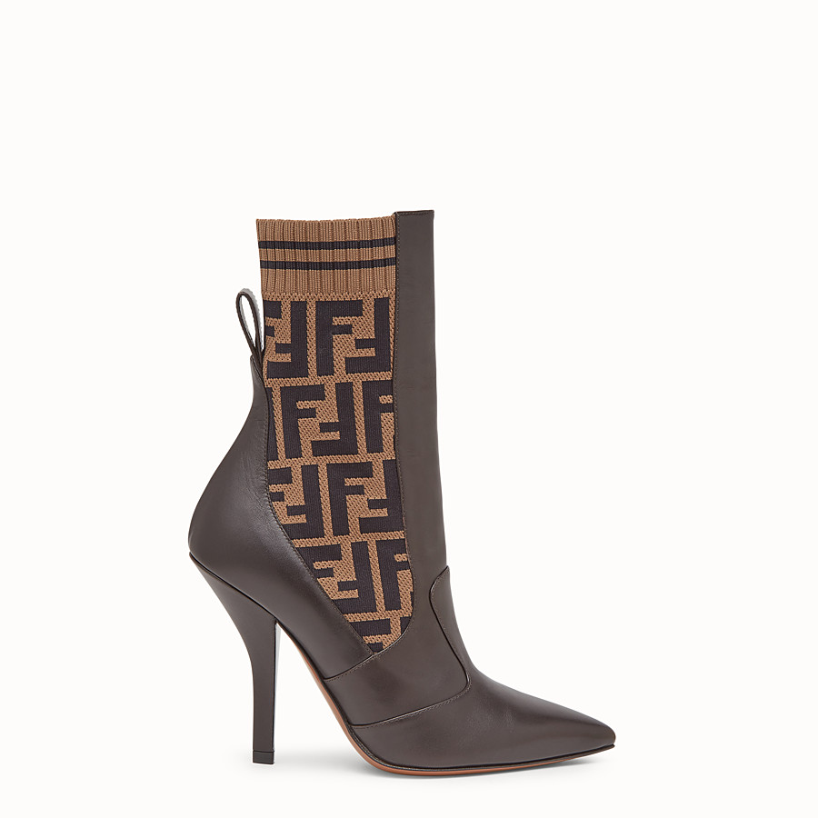 FENDI BOOTS - Brown leather booties - view 1 detail
