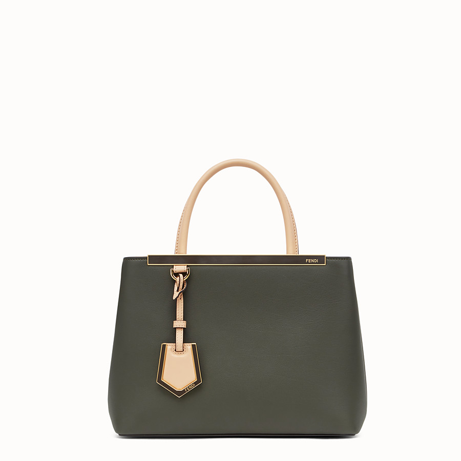 FENDI PETITE 2JOURS - Green and pink leather shopper bag - view 1 detail