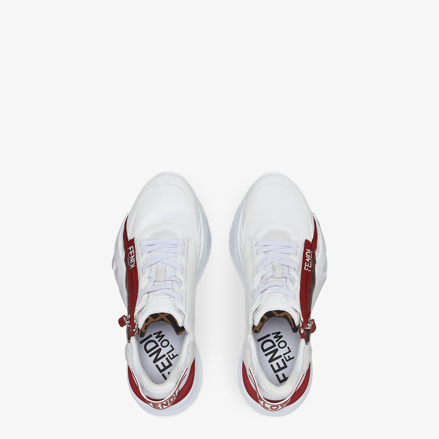 FENDI FENDI FLOW - White leather low-tops - view 4 detail