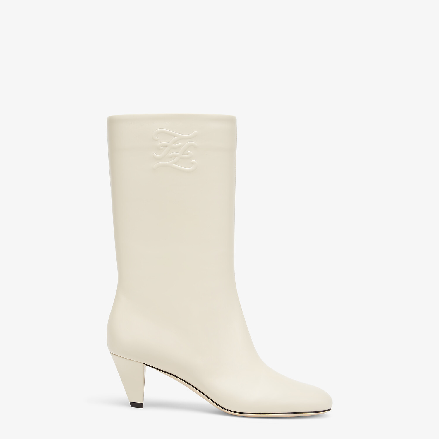 FENDI KARLIGRAPHY - White leather boots with medium heel - view 1 detail