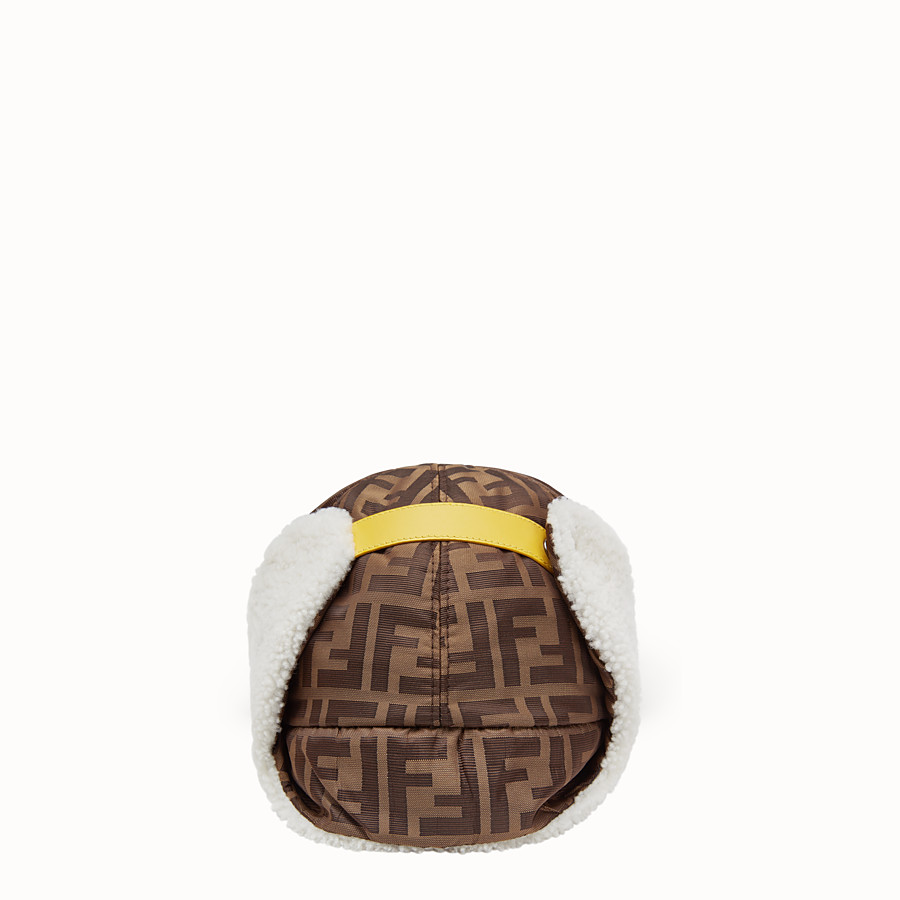 FENDI HAT - Brown fabric and sheepskin baseball cap - view 2 detail