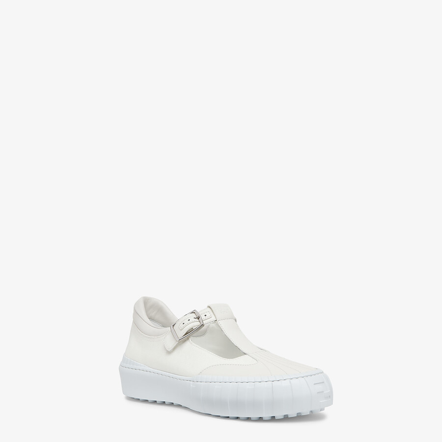 FENDI SNEAKERS - White canvas low-tops - view 2 detail