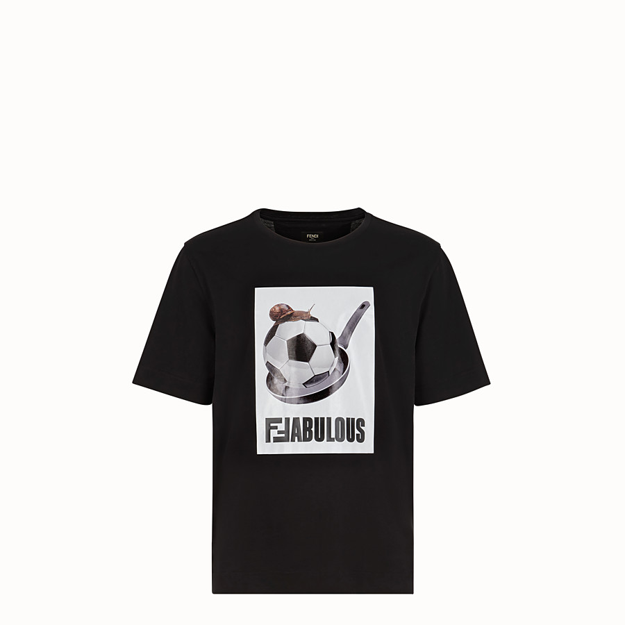 FENDI T-SHIRT - T-shirt en coton noir - view 1 detail