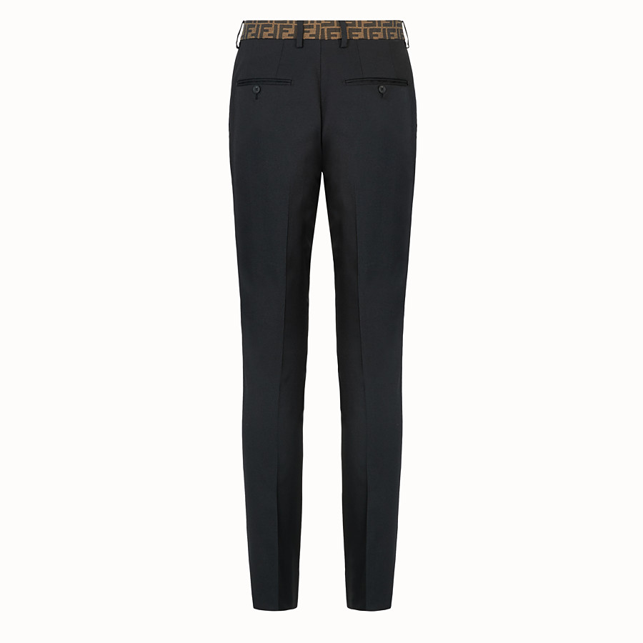FENDI TROUSERS - Black trousers in tech gabardine - view 2 detail