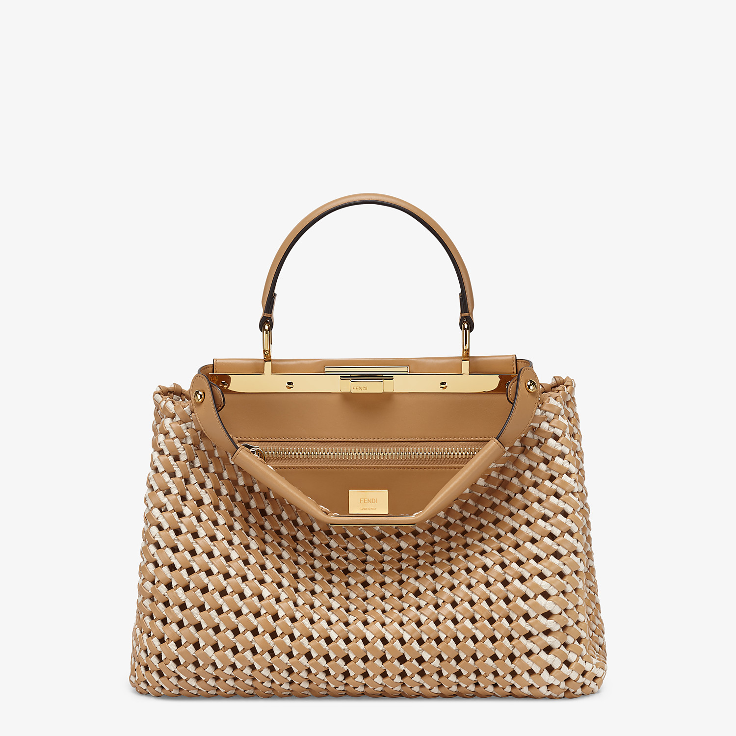 FENDI PEEKABOO ICONIC MEDIUM - Leather and canvas interlace bag - view 1 detail
