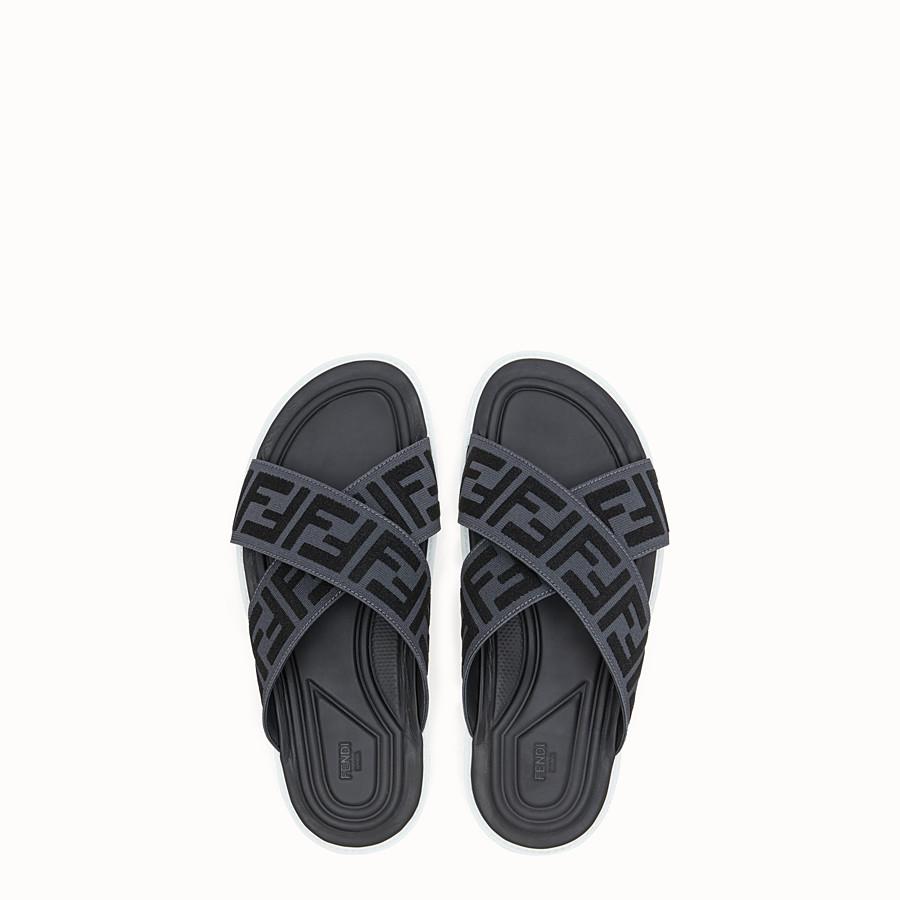 FENDI SLIDES - Sandals in grey stretch fabric - view 4 detail