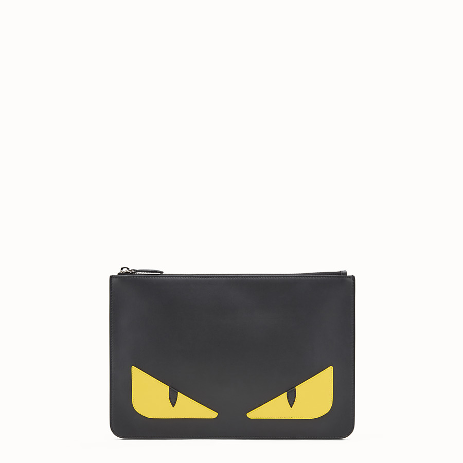 FENDI POUCH - Black and yellow leather pouch - view 1 detail