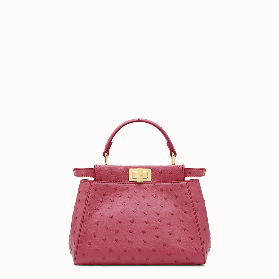 FENDI PEEKABOO ICONIC MINI - Red ostrich leather handbag. - view 1 detail