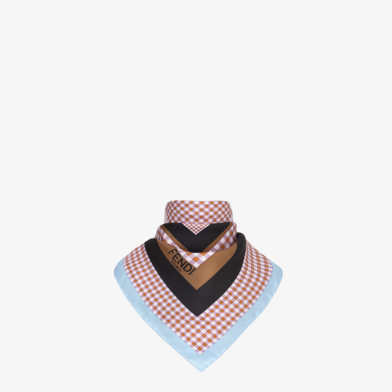 FENDI CHECK FOULARD - Pink silk foulard - view 2 detail